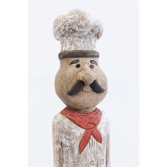 KARE Dřevěná socha Muž Šéfkuchař 99cm