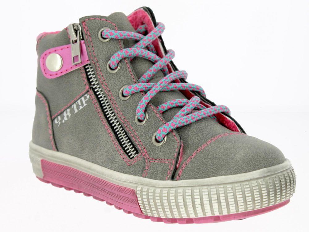 V+J dětská kotníková obuv 33 růžová/šedá