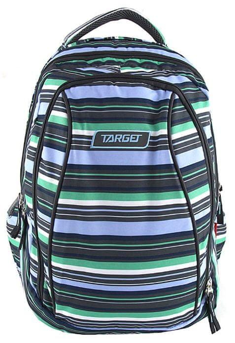 Target Školní batoh 2v1 pruhovaný černo modro zelený