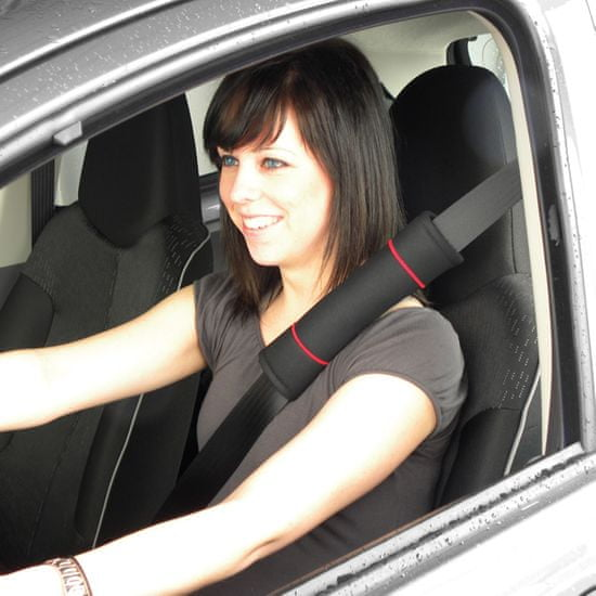CarPoint blazinica za varnostni pas Classic, črno-rdeča, 2 kosa