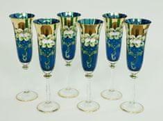 Bohemia Glass  Kozarec za šampanjec 190 ml - modra