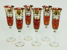 Bohemia Glass  Kozarec za šampanjec 190 ml - rdeča