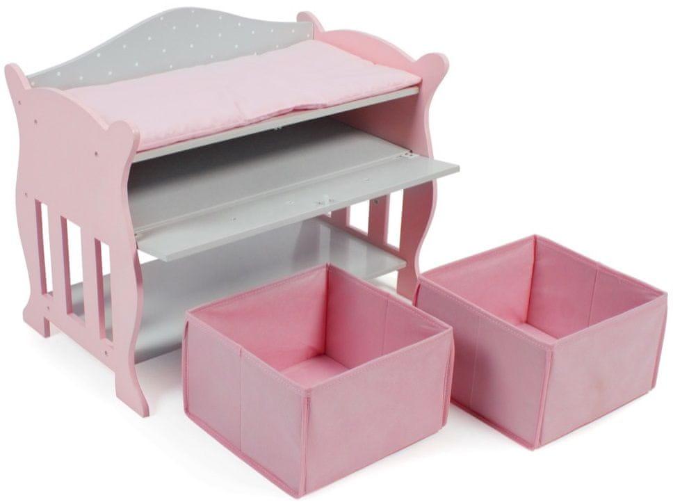 Bayer Chic Dřevěný přebalovací pult růžovo-šedivý