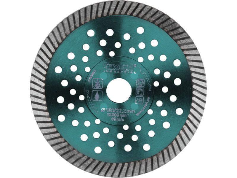 Extol Industrial Kotouč diamantový řezný turbo Fast Cut, 150x22,2mm, suché i mokré řezání