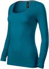 Malfini Premium Petrol blue dámské triko s dlouhými rukávy a hlubším kulatým výstřihem