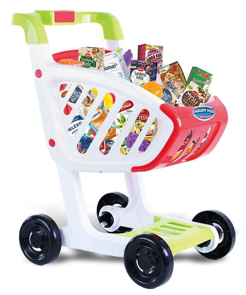 Rappa Detský nákupný vozík s českým tovarom a plastovými potravinami
