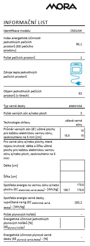 Mora elektrický sporák C 501 AW