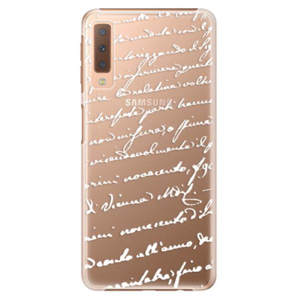 iSaprio Plastový kryt - Handwriting 01 - white pro Samsung Galaxy A7 (2018)