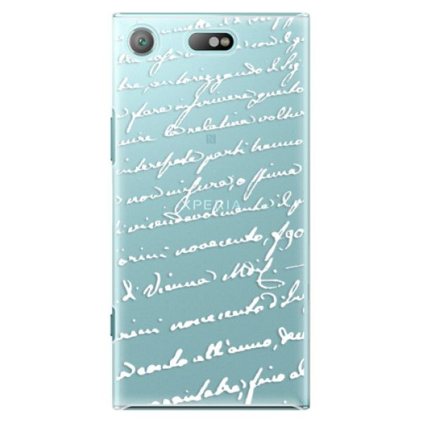 iSaprio Plastový kryt - Handwriting 01 - white pro Sony Xperia XZ1 Compact