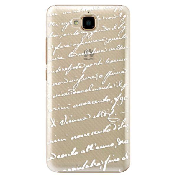 iSaprio Plastový kryt - Handwriting 01 - white pro Huawei Y6 Pro