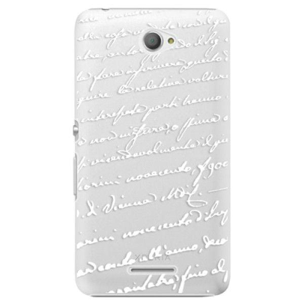 iSaprio Plastový kryt - Handwriting 01 - white pro Sony Xperia E4