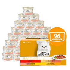 Gourmet Gold mačje konzerve, Multipack 12x (8x 85 g) – koščki v soku z zelenjavo