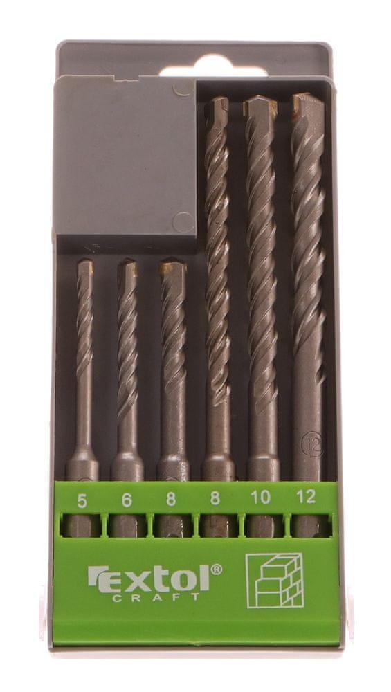 Extol Craft Vrtáky SDS PLUS příklepové do betonu, 6ks, Ř5-6-8x110mm, Ř8-10-12x160mm