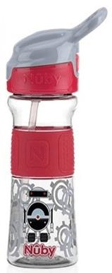 Nuby Láhev sportovní s měkkým sklápěcím brčkem 360ml červená