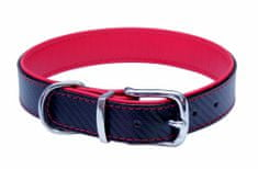 BAFPET Kožený obojek CARBON 52 cm červená