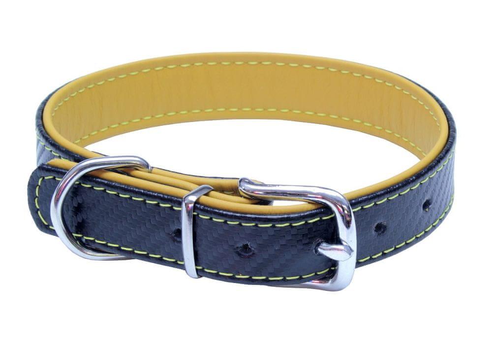 BAFPET Kožený obojek CARBON 45 cm žlutá