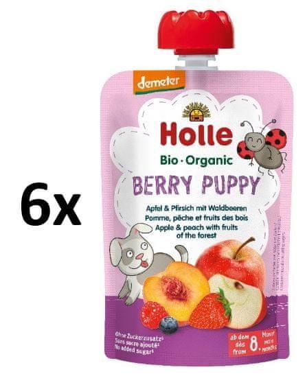 Holle Bio Berry Puppy 100% ovocné pyré jablko, broskev a lesní plody - 6 x 100g