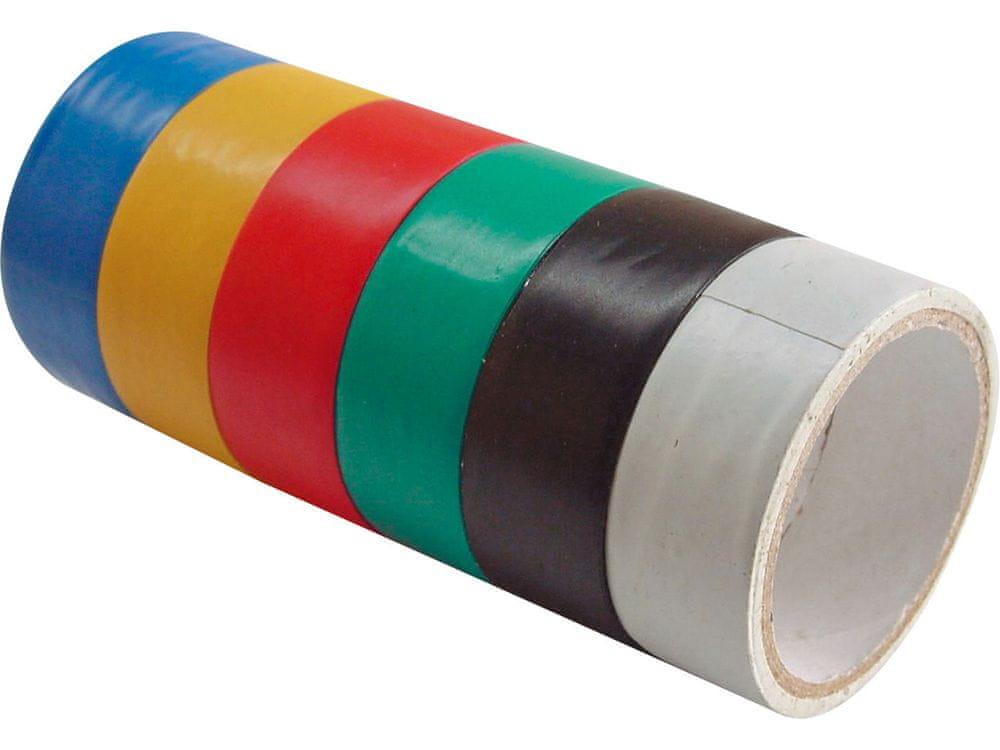 Extol Craft Pásky izolační PVC, sada 6ks, 19mm x 18m (3m x 6ks), tloušťka 0,13mm, 6 barev