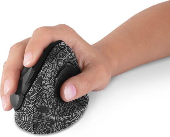 Connect IT ergonomiczna mysz pionowa CMO-2700, doodle (CMO-2705-WH)