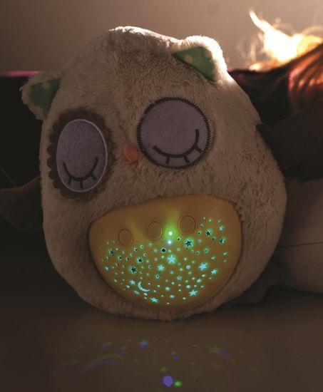 Teddies speča sova, zvok+svetloba, zvezdice, 25 cm