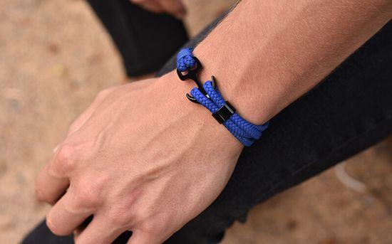 Troli Royal blue Skórzanabransoletka Kotwica