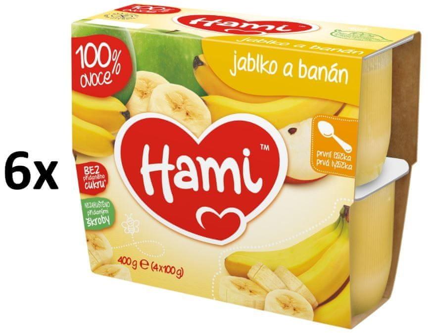 Hami 100% Ovoce jablko, banán - 6 x (4x100g)