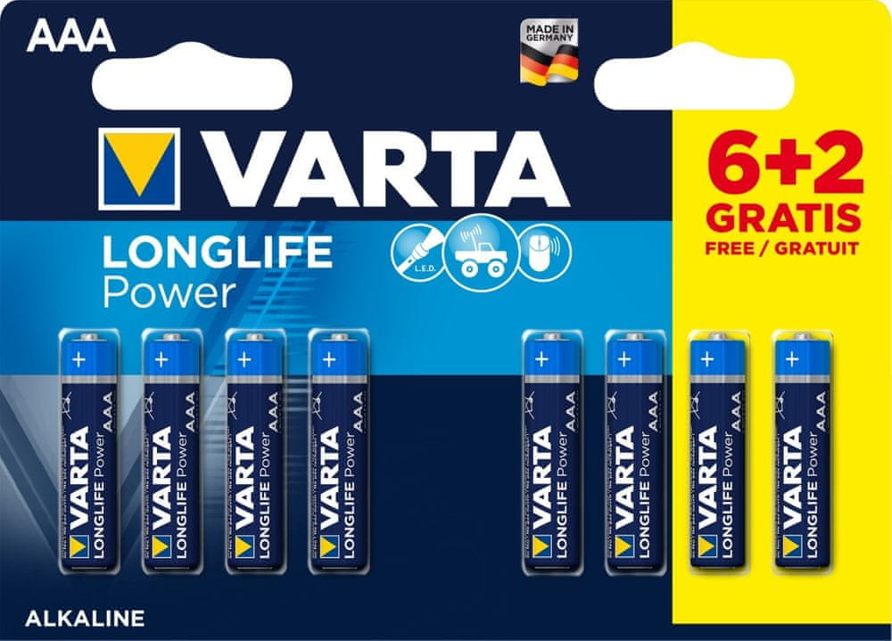 Varta Baterie Longlife Power 6+2 AAA 4903121428