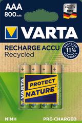 Varta polnilna baterija Recycled 4 AAA 800 mAh R2U 56813101404, 4 kosi