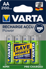 Varta Power 4 AA 2100 mAh R2U polnilna baterija 56706101404, 4 kosi