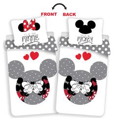 Jerry Fabrics Mickey in Minnie ljubita sivo posteljnina