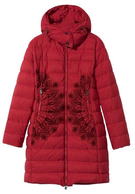 Desigual dámský kabát Padded Mandala 38 červená