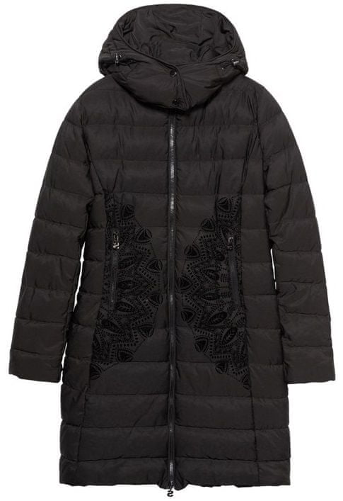 Desigual dámský kabát Padded Mandala 36 černá