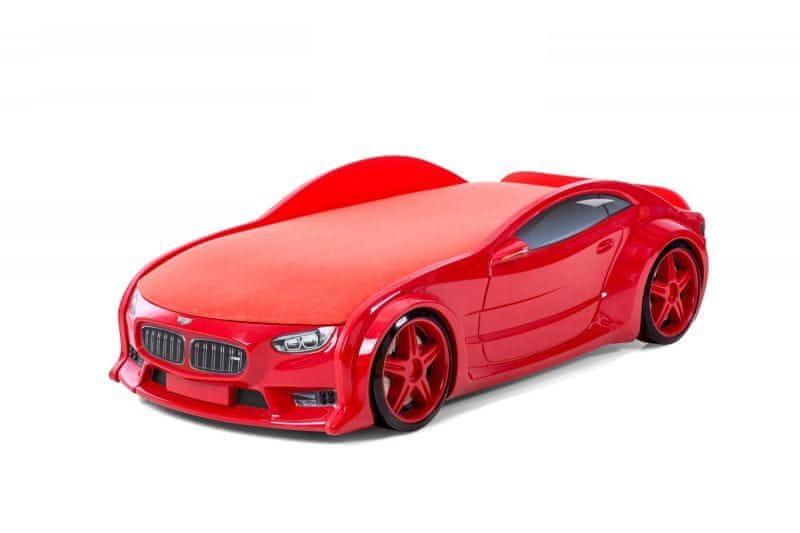 """Postýlka auto NEO červená """"Standart"""", LED světla, Spodní světlo, Spojler"""