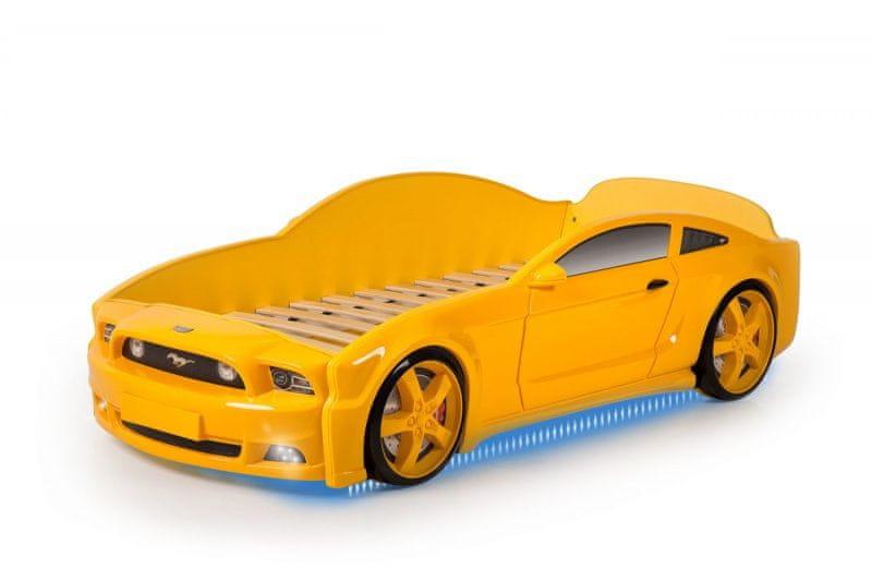 Postýlka auto MUSTANG 3D LED světla, Spodní světlo - žlutá