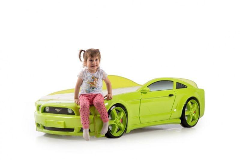 Postýlka auto MUSTANG 3D LED světla, Spodní světlo - zelená