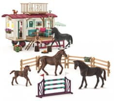 Schleich zestaw 72141 przyczepa i akcesoria treningowe z końmi