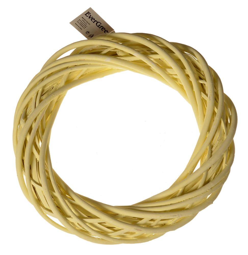 EverGreen Věnec proutěný pr. 30 cm, žlutá