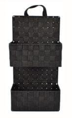 DUE ESSE Závěsný černý 2dílný nylonový organizér 48 x 25 x 12 cm