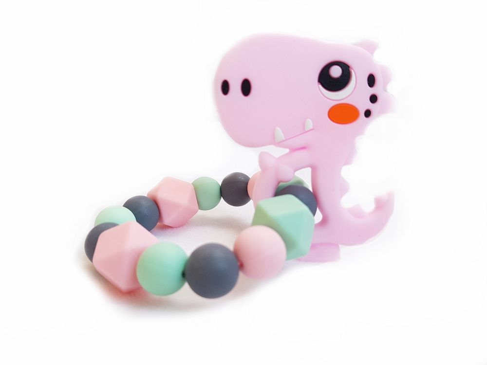 KidPro Silikonové kousátko: Dino růžový