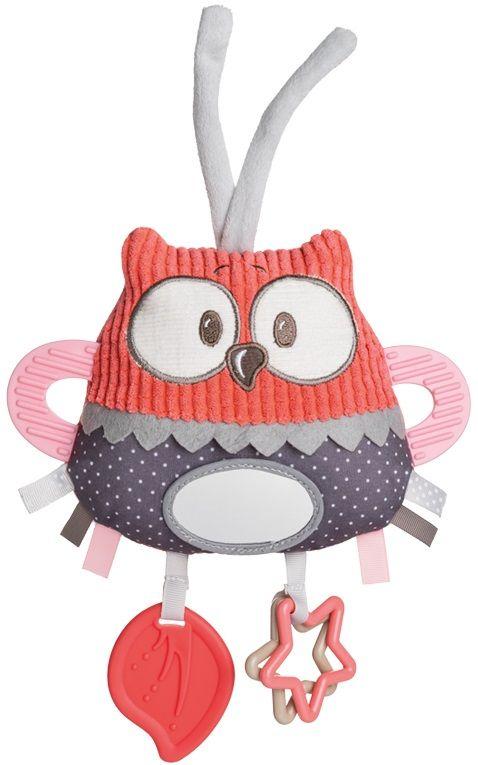 Canpol babies Plyšová edukační zavazovací hračka Pastel Friends červená sova