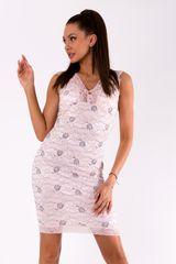 Stylomat Letní šaty růžové pokryté krajkou, velikost M