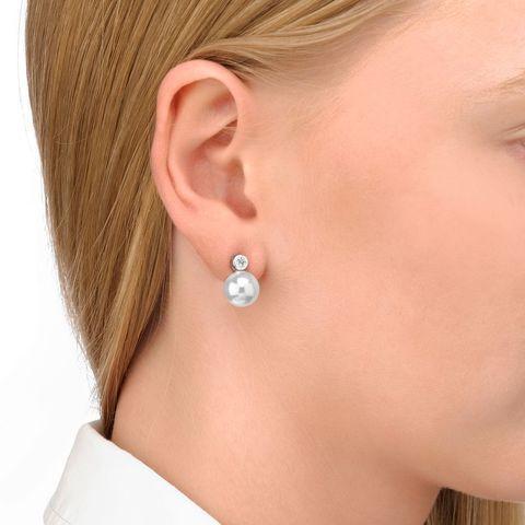 Majorica Stříbrné náušnice s perlou a krystalem 11043.01.2.000.010.1