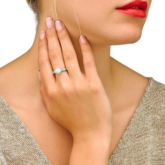 Majorica Stříbrný prsten s perlou a kamínky 12563.01.2.913.010.1 stříbro 925/1000
