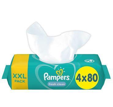 Pampers XXL Fresh Clean vlažilni robčki, 4x 80 kosov