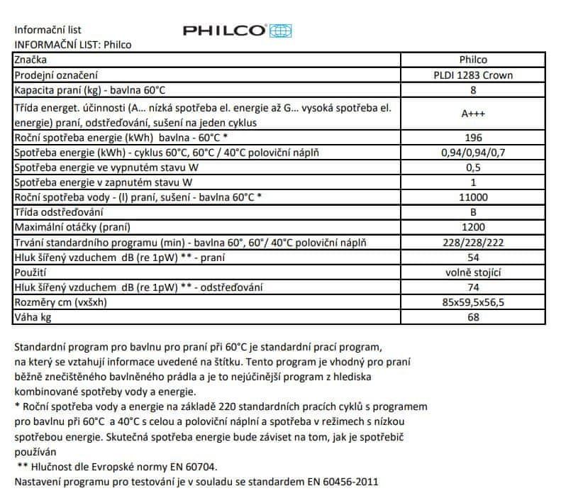 Philco pračka PLDI 1283 Crown