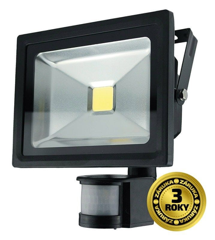 Solight Solight LED venkovní reflektor, 20W, 1600lm, AC 230V, černá, se senzorem WM-20WS-E