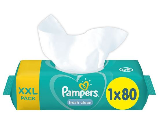 Pampers XXL Fresh Clean vlažilni robčki, 80 kosov