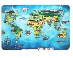 Protiskluzový kusový koberec World map 76,5x117