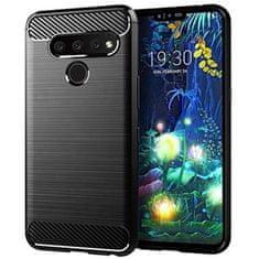 ovitek za LG Q60 2019, silikonski, mat carbon črn