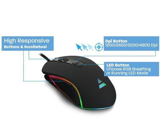 Ewent PL3301 Play Gaming miška, RGB, 4800dpi, USB